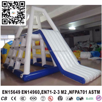 giant inflatable floating climbing tower water pool slide for adults and kids