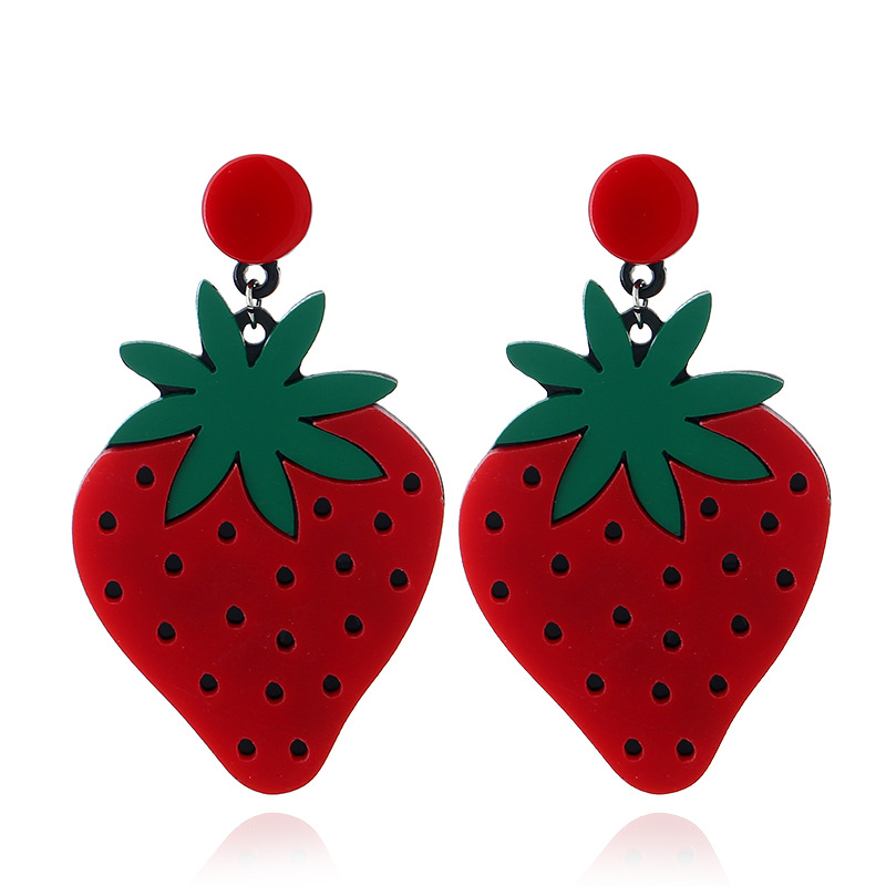 2017 New Big Red Strawberry Cherry Earrings Personality Acrylic Fruit Drop Earrings For Women Lady Night Club Party Jewelry