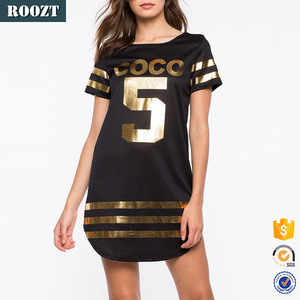 New Fashion European Clothing Style Women Top T-Shirt Casual Black Short Sleeve Print Dress with Best Price