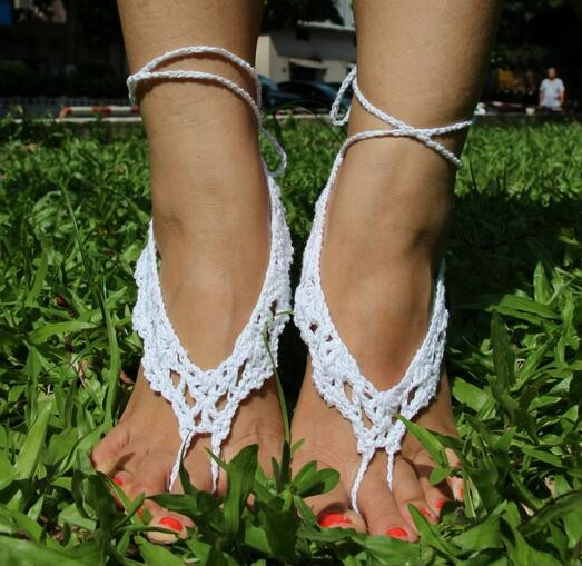 Beach Wedding Crochet Barefoot sandals Gypsy Foot Jewelry Barefoot Sandles Bridal Yoga Anklet