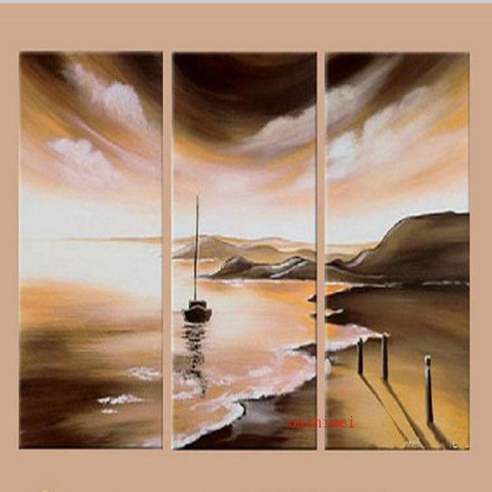 Unique Gift Handpainted 3 Piece Landscape Wall Art Oil Painting On Canvas Ocean Beach Scenery Picture For Home Decoration