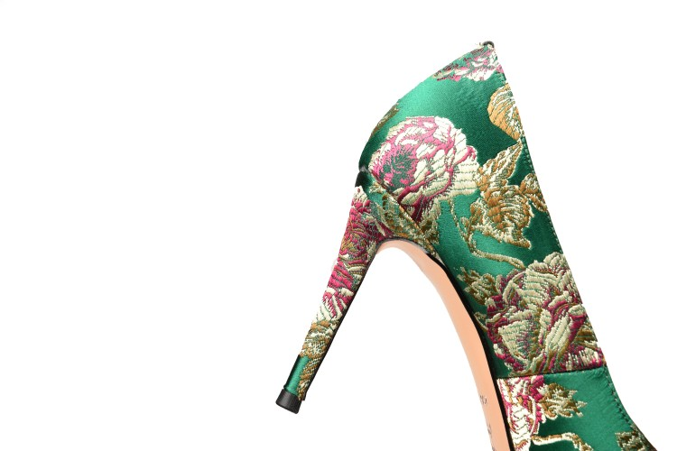 heel pumps silk LXUNYI shoes embroider high women ladies shoes fashion toe thin pointed X10wUB1v
