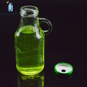 Custom Made Glass Bottle 200ml 250ml Juice Organic With Screw Cap Straws