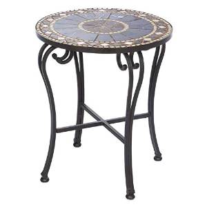 Side End Table, Side Table, Patio Side Table,Tiled Mosaic Tabletop, Sturdy Wrought-Iron Construction