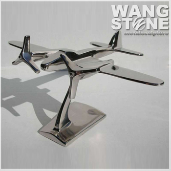 Modern Stainless Steel Metal Airplane Home Decor Sculpture