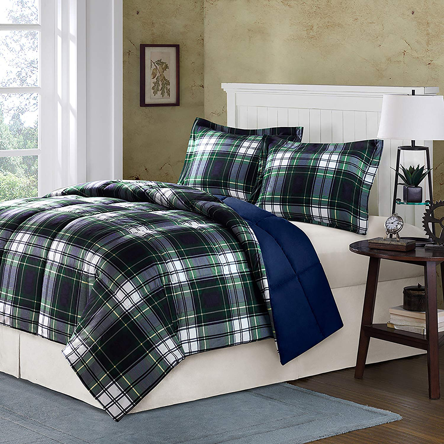 CA 3 Piece White Green Navy Blue Buffalo Checked Comforter Full Queen Set, Classic Plaid Madras Bedding Extra Warmth Lightweight Checkered Yellow Down Alternative, Reversible Solid Microfiber