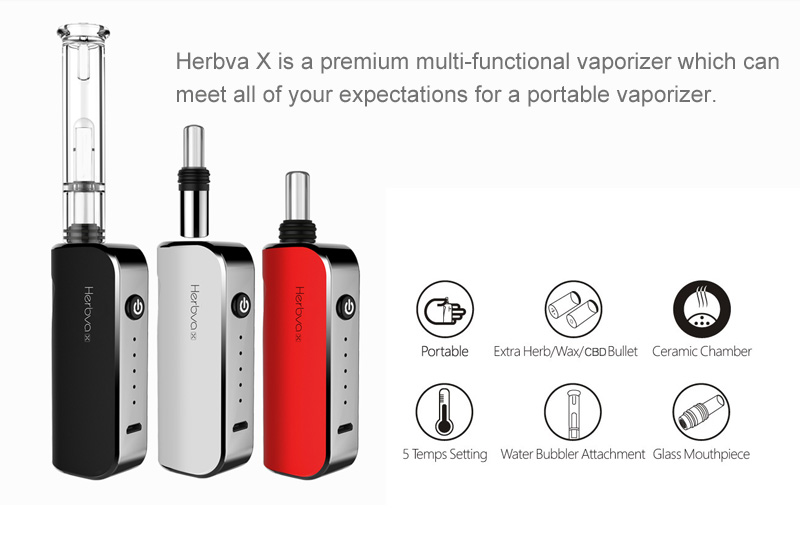 Best portable glass mouthpiece vaporizer for dry herb 3in1 vaping device, Herbva X with water bubbler