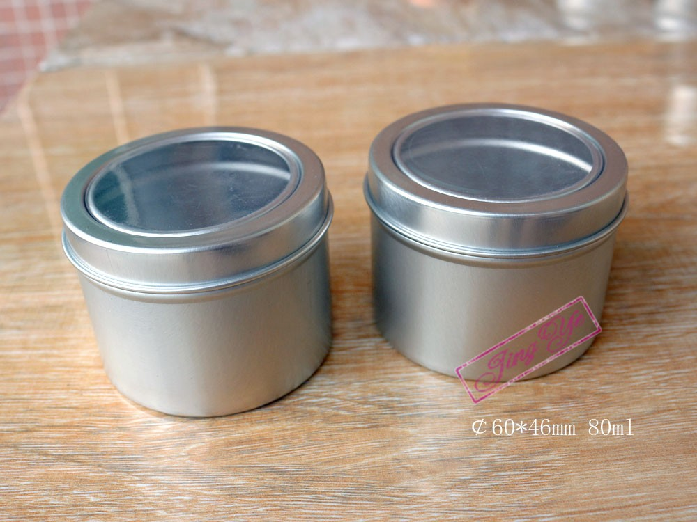 round aluminum tin box with clear window cap 150g. metal tin with plastic lid for soy candle