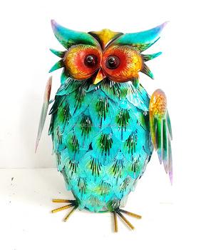 Hand Painting Ornaments Garden Decor Metal Owl