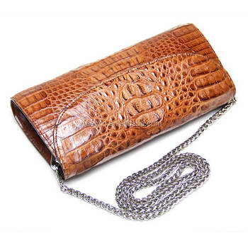 Heyco brown luxury crocodile skin leather purse with shoulder girdle