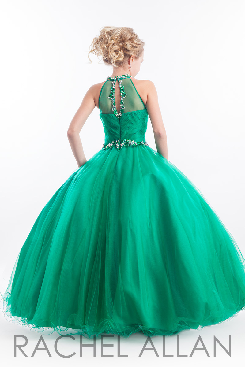 Arc-14 Elegant Light Green Flower Girl Dress High Illusion Neckline ...