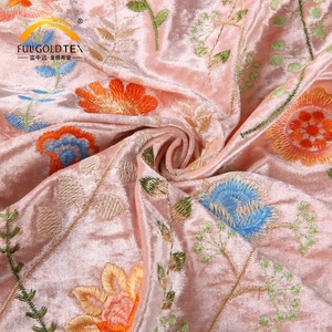Customized diamond span polyester net embroidery crystal velvet fabric design price per meter