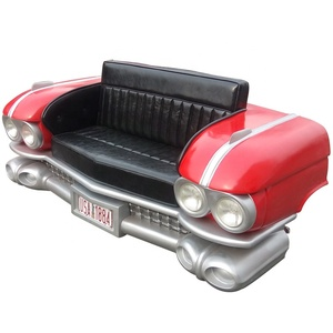 1959 Year Industrial Retro Front Face Car Sofa Red Color Vintage Classic Car Shaped Sofa For Net Bar Home Bar Cafe Shop