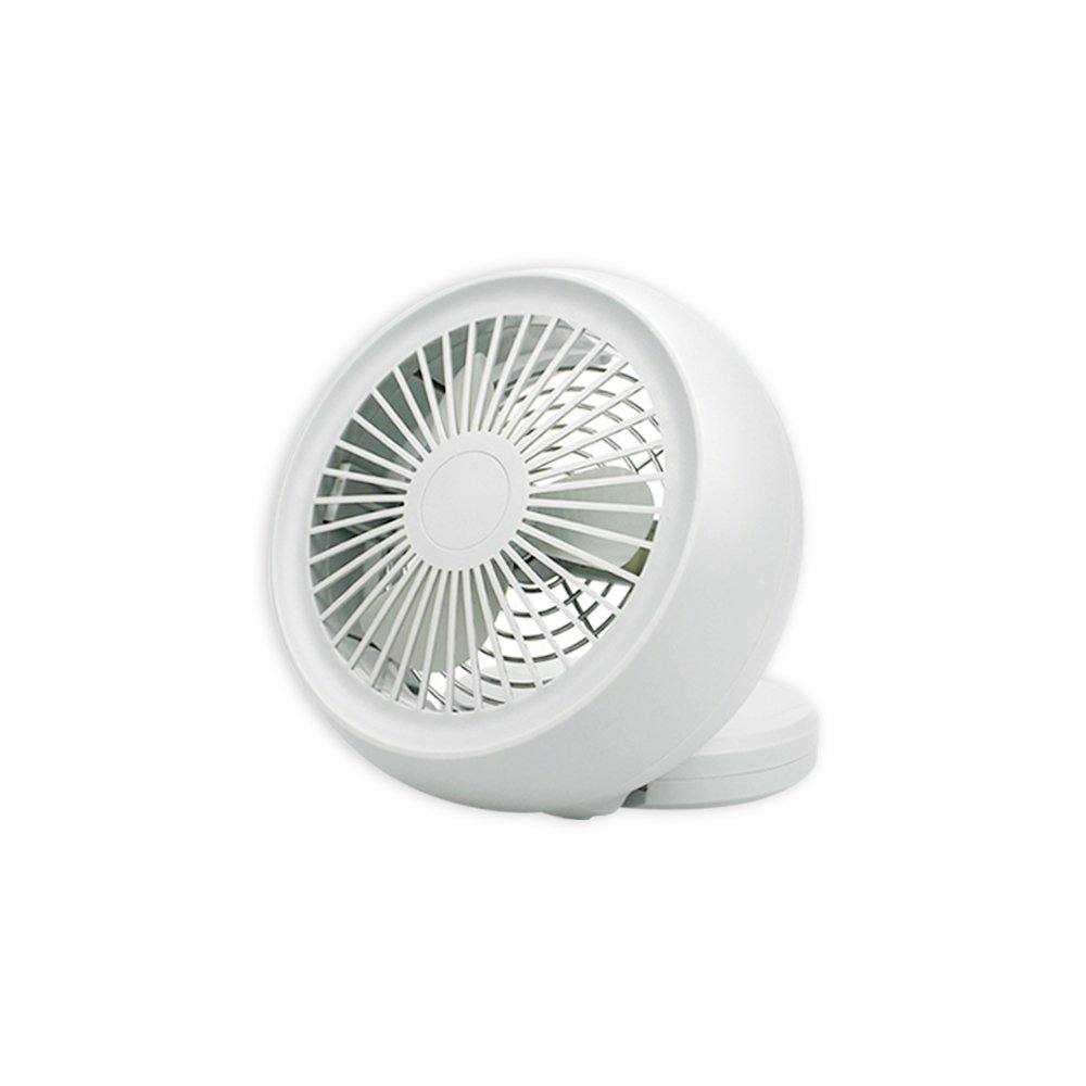 Mini USB Fan, Throne 6 Portable Desk Fan w/USB and Battery Dual Power Supply, Angle Adjustable and Low Noise, Silent Cooling Fan for Home, Office with Powerful Airflow (White)