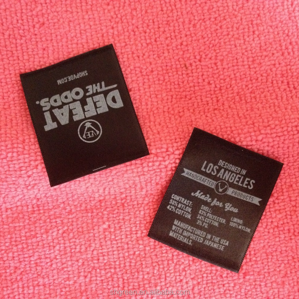 Custom double sides printing black satin label,textile label