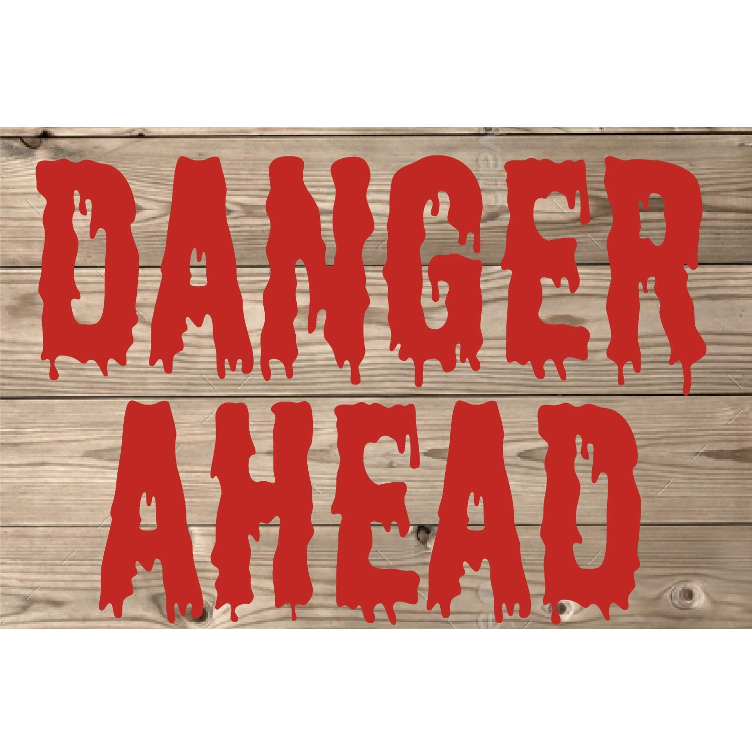 """BannerBuzz Danger Ahead Yard Sign with Metal Stakes, Non-Reflective UV Print Corrugated Plastic Sheets for Indoor & Outdoor Garden Signs (18"""" (H) X 24"""" (W))"""