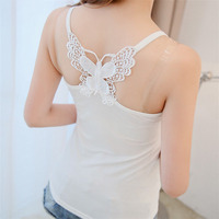 Femtindo Lace hollow out butterfly White Black Women Tank Tops