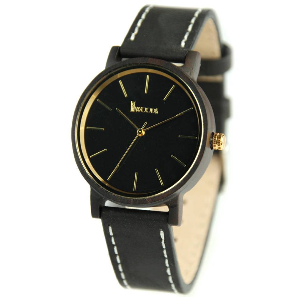 Character and Minimalist Design Wood Watch,Leather Strap Unisex Wrist Watch