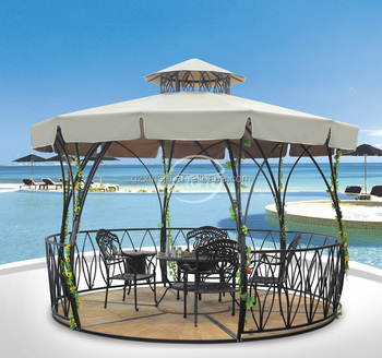 outdoor furniture hot sale iron frame wood base gazebo tent with polyester canopy top & Outdoor Furniture Hot Sale Iron Frame Wood Base Gazebo Tent With ...