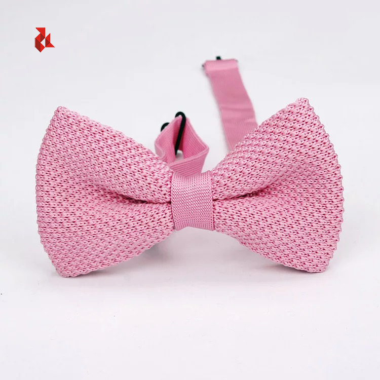 Handmade Fashion Solid Knit Bow Ties Polyester Knitted Pure Color Bowties Men