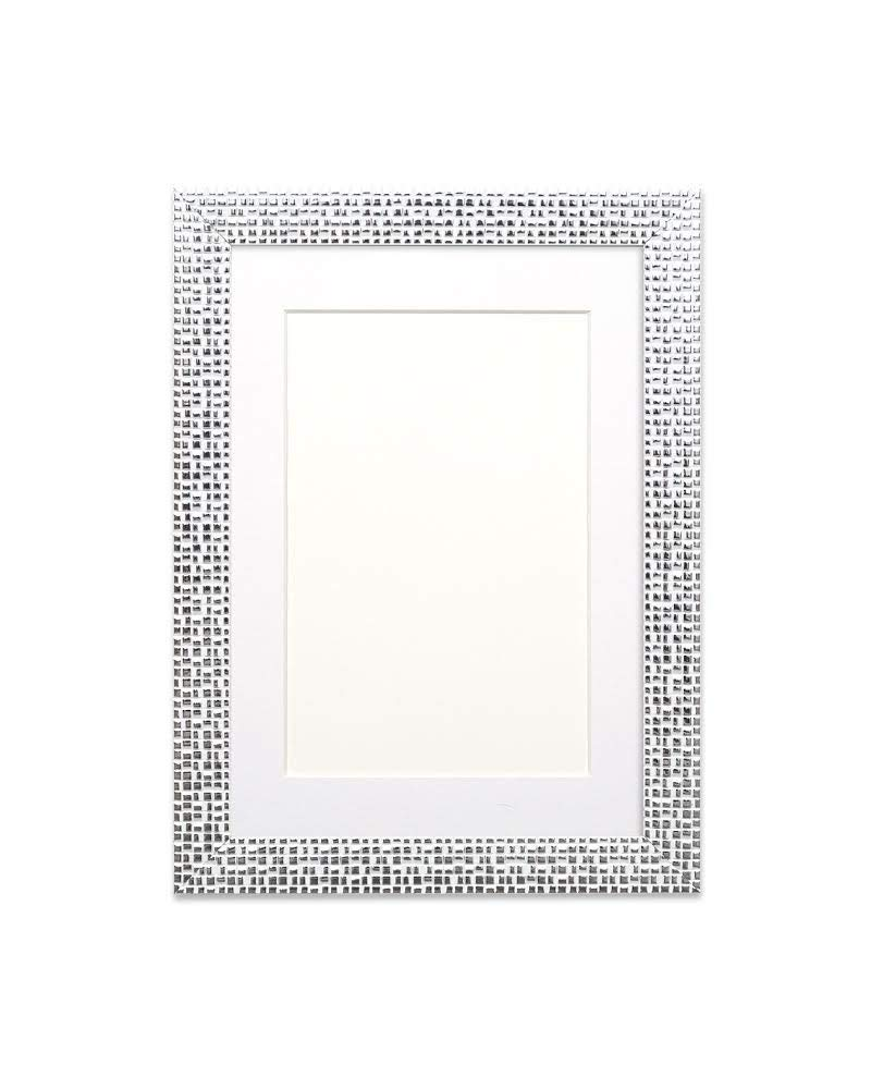 "Paintings Frames Flat Bright/Mirror Effect/Pop Star Photo Frame Picture Frame Poster Frame Moulding Measures 28Mm Wide & 16Mm Deep 10""x8"" for 8""x6"" picture Silver Bling Frame with White Mount"
