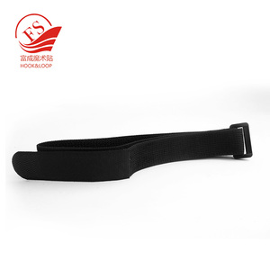 High quality elastic hook and loop fastener tape strap in black with buckle