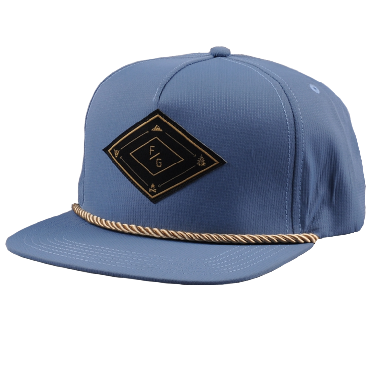 Light blue nylon ripstop snapback hat cap Rope bill snapback cap customize Patch logo 5 panel hats and caps
