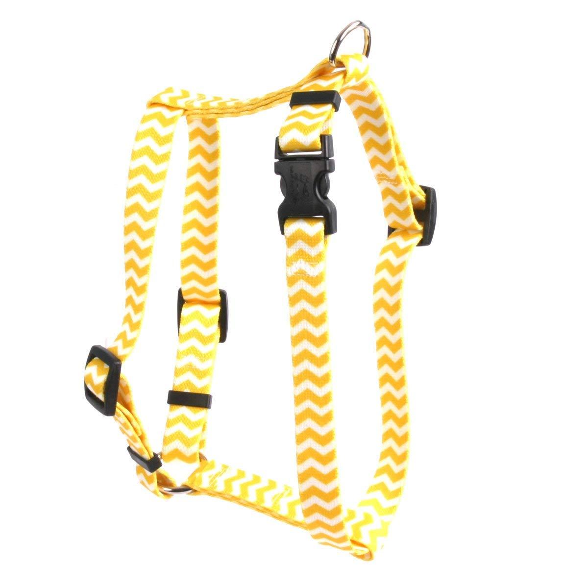 Yellow Dog Design Lemon Chevron 8-Feet to 14-Feet Harness, X-Small