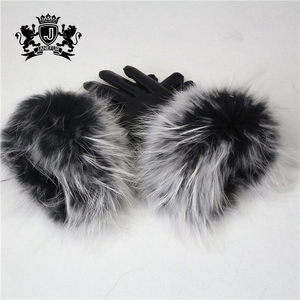 Various colors Keep Warm Gloves Wool Lining Cute Woman Sheep Leather Fur Hand Gloves