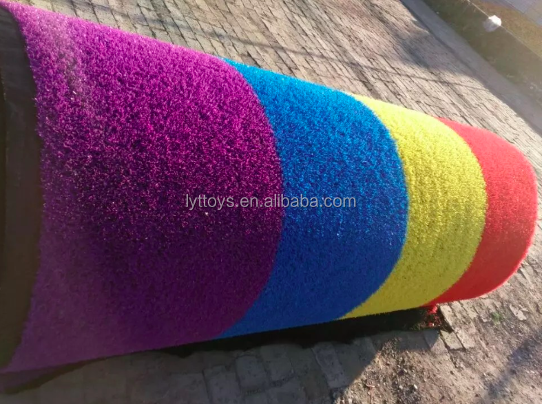 High quality colorful rainbow with white line landscape artificial grass carpet for playgrounds