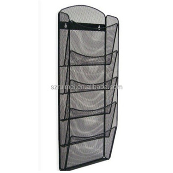 Wall Mount Pocket Metal Wire Mesh Magazine Rack