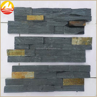 Natural Black Slate Stacked Stone Wall Panels
