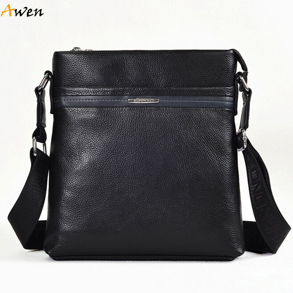 614470c41a Get Quotations · Awen hot sell solid black soft genuine leather messenger  bag for male