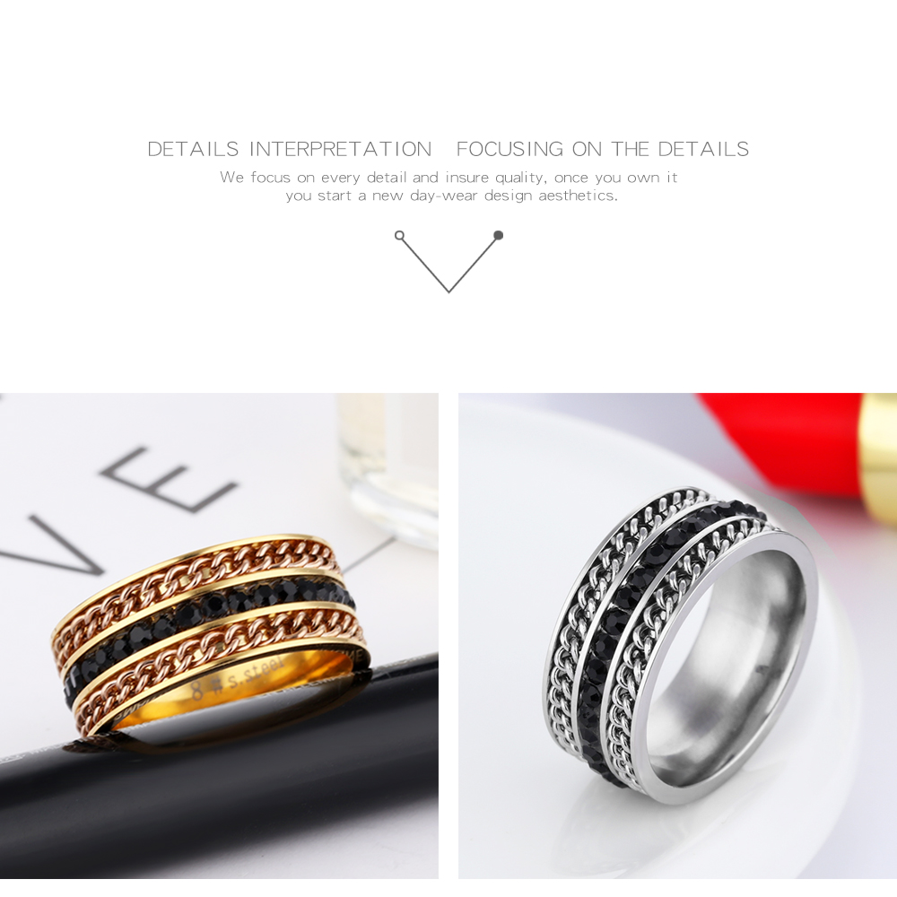Latest Jewelry Men Women Stainless Steel Black Zircon Turkish Gold Rings