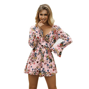 Custom Logo Accepted Spring Autumn Flare Long Sleeve Wrap Front V Neck Casual Jumpsuits Pants Floral Print Adult Romper Women