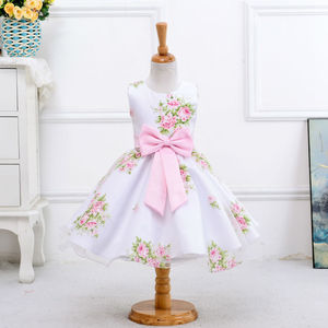 Children's clothing 2017 spring new flower girl Korean printing sleeveless dress cute bow