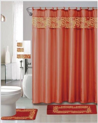 Kristy Orange 18 Pieces Shower Curtain, 2 Rugs, 3 Piece Towel Set, 12 Metal Roller Rings