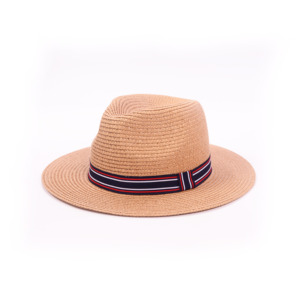 Custom Summer Women Fashion Straw Fedora Beach Hat Natural Panama Straw Hats With Color Ribbon