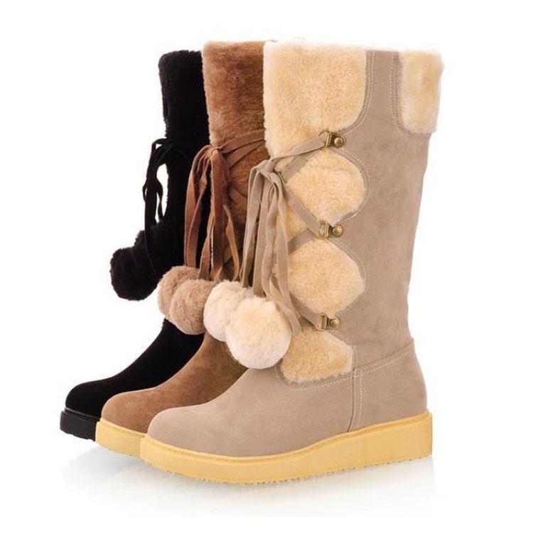 Cute winter leather women boots 2014 snow platform suede