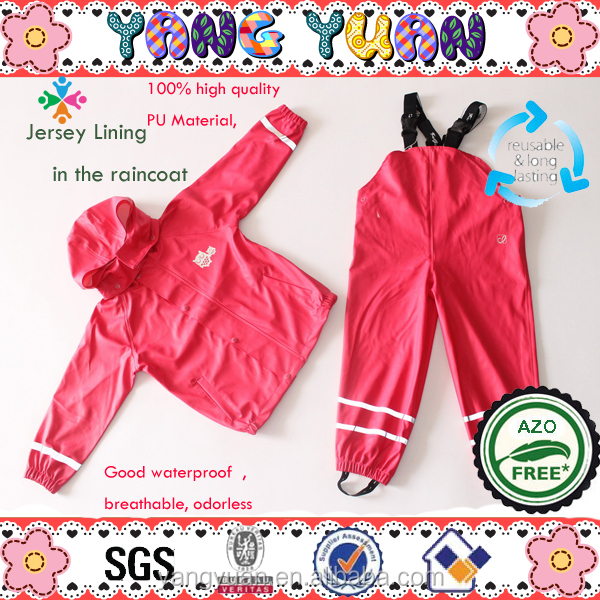 Waterproof Children Raincoat Rainpants Rain Suit Red