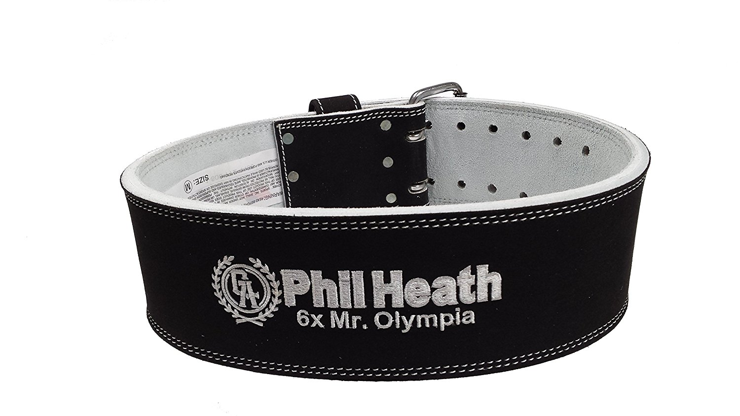 Schiek Sports PHL6010 Phil Heath Signature 10cm Wide Suede Leather Double Prong Competition Power Lifting Belt - 9mm Thickness - Custom Designed by Mr. Olympia