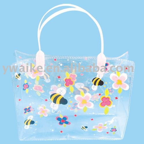 flower printing pvc transparent ladies' handbag