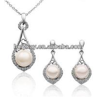 New design women's fashion cheap jewelry set, pearl necklace set