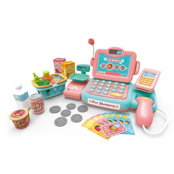 2019 New battery operated kids pretend play set fruit shopping toy cashier with cash coins