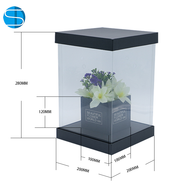 Wholesale Luxury Clear Square PVC Transparent Flower Packing Box Bouquet Florist Gift Boxes for Wedding Favor Party Valentine's