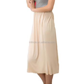 Sólido Falda larga damas Modal blanco negro se desliza medio ropa interior  suave faldas para las 49a9cf495748