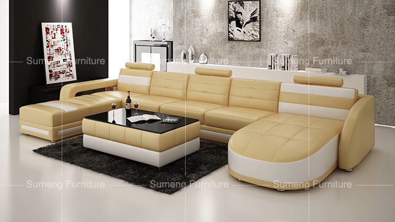 SUMENG hot sale leather sofa lounge double chaise recliner sofa