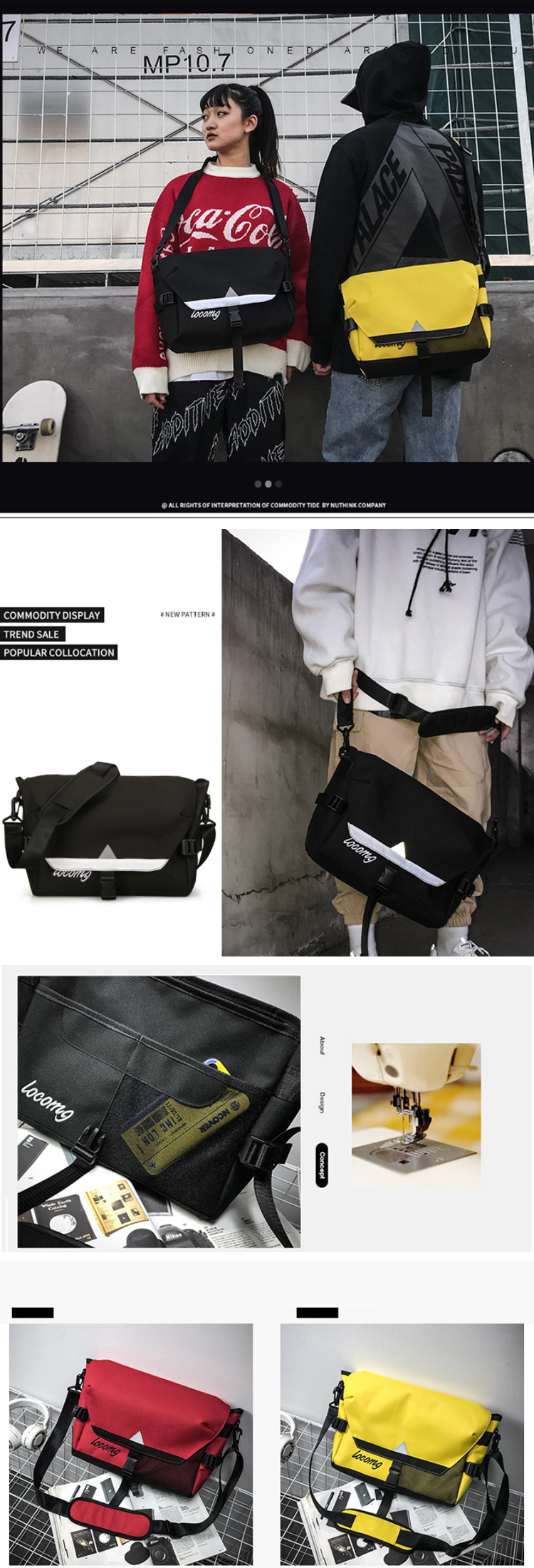 Osgoodway Large Capacity Outdoor Leisure Student Travel Shoulder Bag Fashion Laptop Messenger Bag