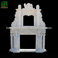 Handcarved White Marble double tier fireplace mantel with column and lady figure