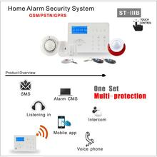 New Wireless GSM <span class=keywords><strong>PSTN</strong></span> Auto Dial 433/868 MHz Hoem ST-IIIB Burglar Alarm System Dengan LCD display Dukungan APP